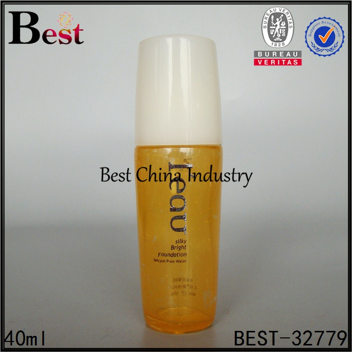 cosmetic packaging 40ml 100ml yellow body white pump spray skin care bottle glass