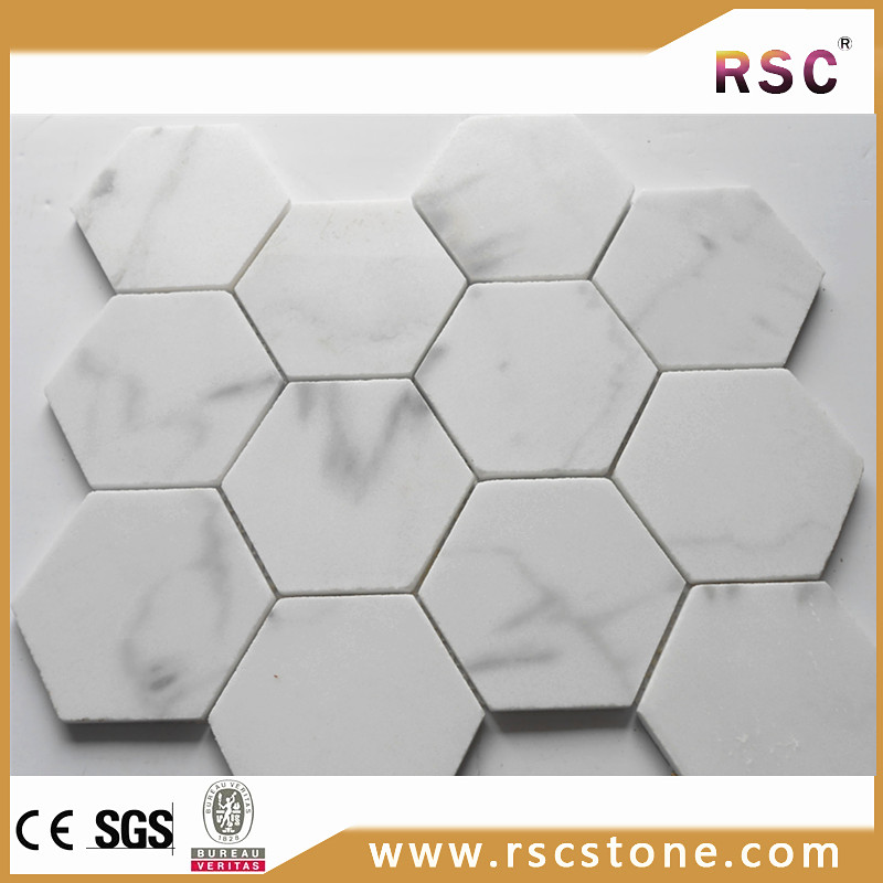 Hexagon italian white marble mosaic tile