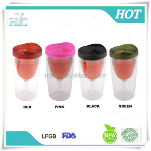 Double Wall Acrylic wine sippy cups with lid, Insulated bpa free 10oz plasitc wine tumblers,FDA passed plastic acrylic wine cups