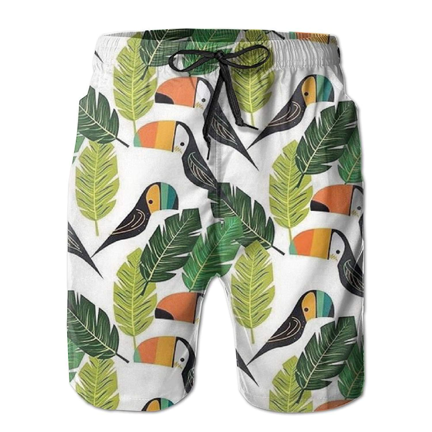 ZAPAGE Mans Quick Dry Board Shorts Tropical Plant Swim Trunk Board Shorts With Pockets