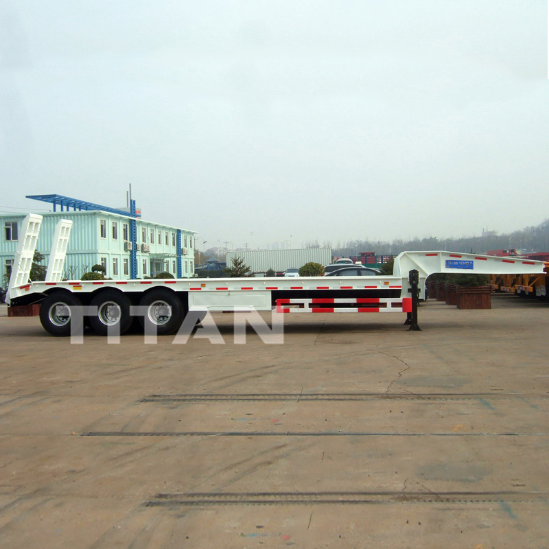 5 Axles Lowbed Trailer  60 tons mechanical ramp low bed trailer heavy duty low bed semi trailer