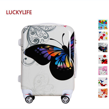 2017 Hot style lady butterfly PC suitcase, women kid travel trolley bag, girl boy school luggage