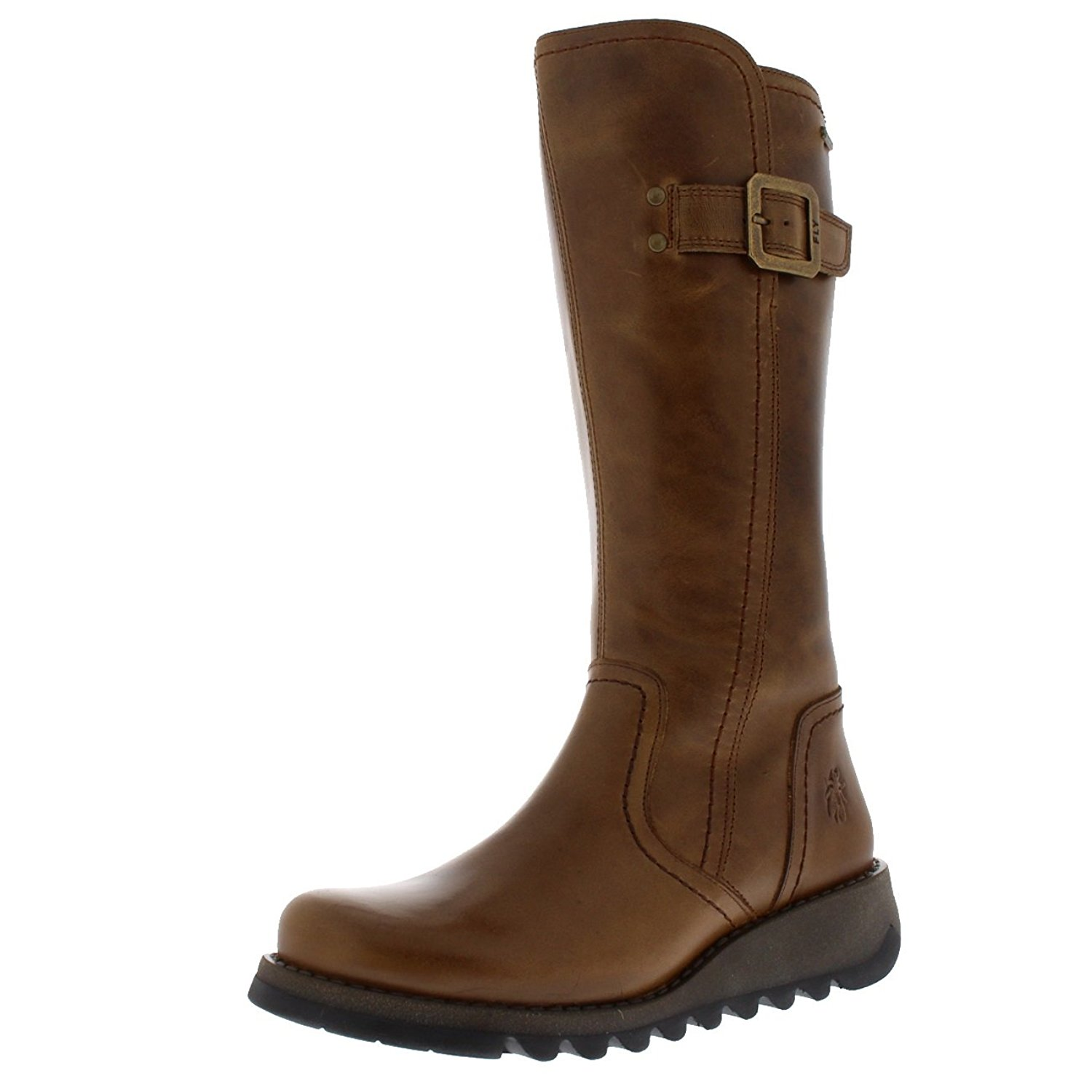 987c1c5d0de4 Get Quotations · FLY London Womens Shap Camel Winter Wedge Heel Leather  Knee High Boots