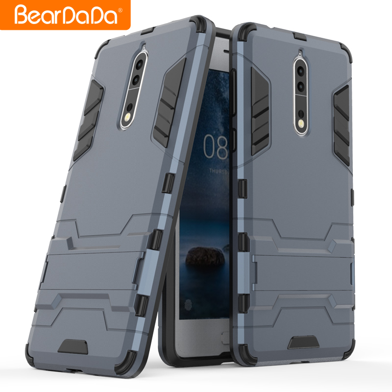 Hybrid 2 in 1 Shockproof kickstand phone back cover for nokia 8 shockproof case