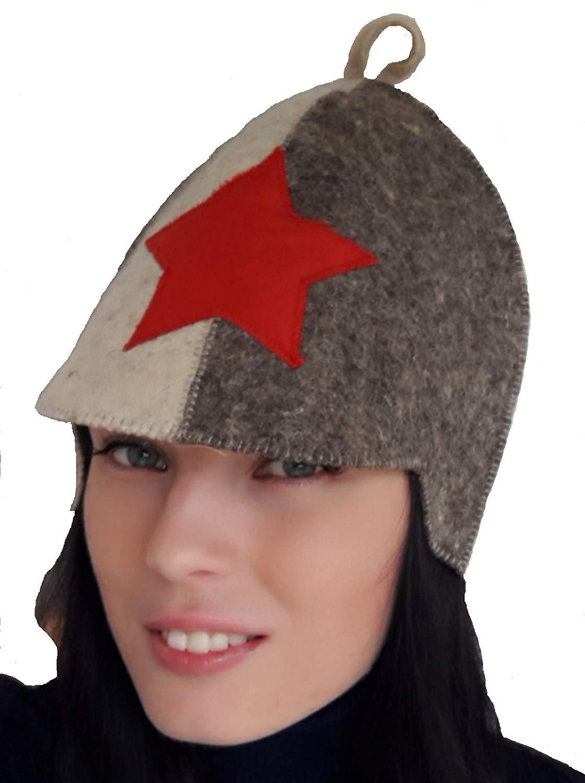 1cca587557a Get Quotations · Natalya Kiseleva Sauna Hat 100% Wool Felt Model Budenovka  Soviet Army Red Star