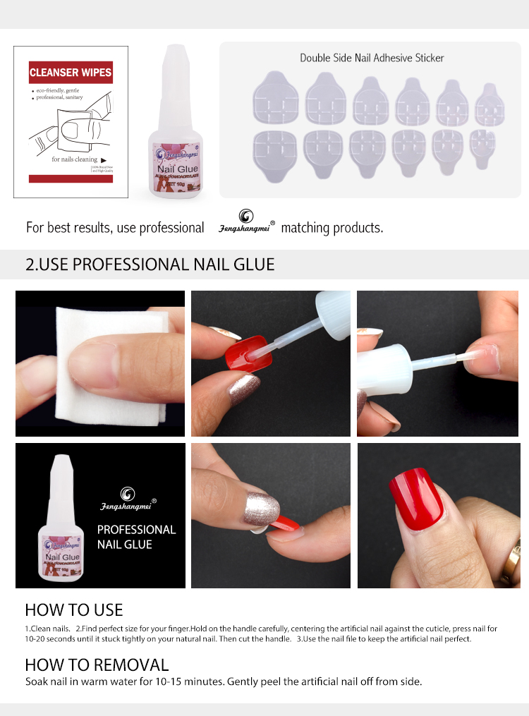 Fengshangmei Sparkling Star Artificial Press on  Toe Nail Tips