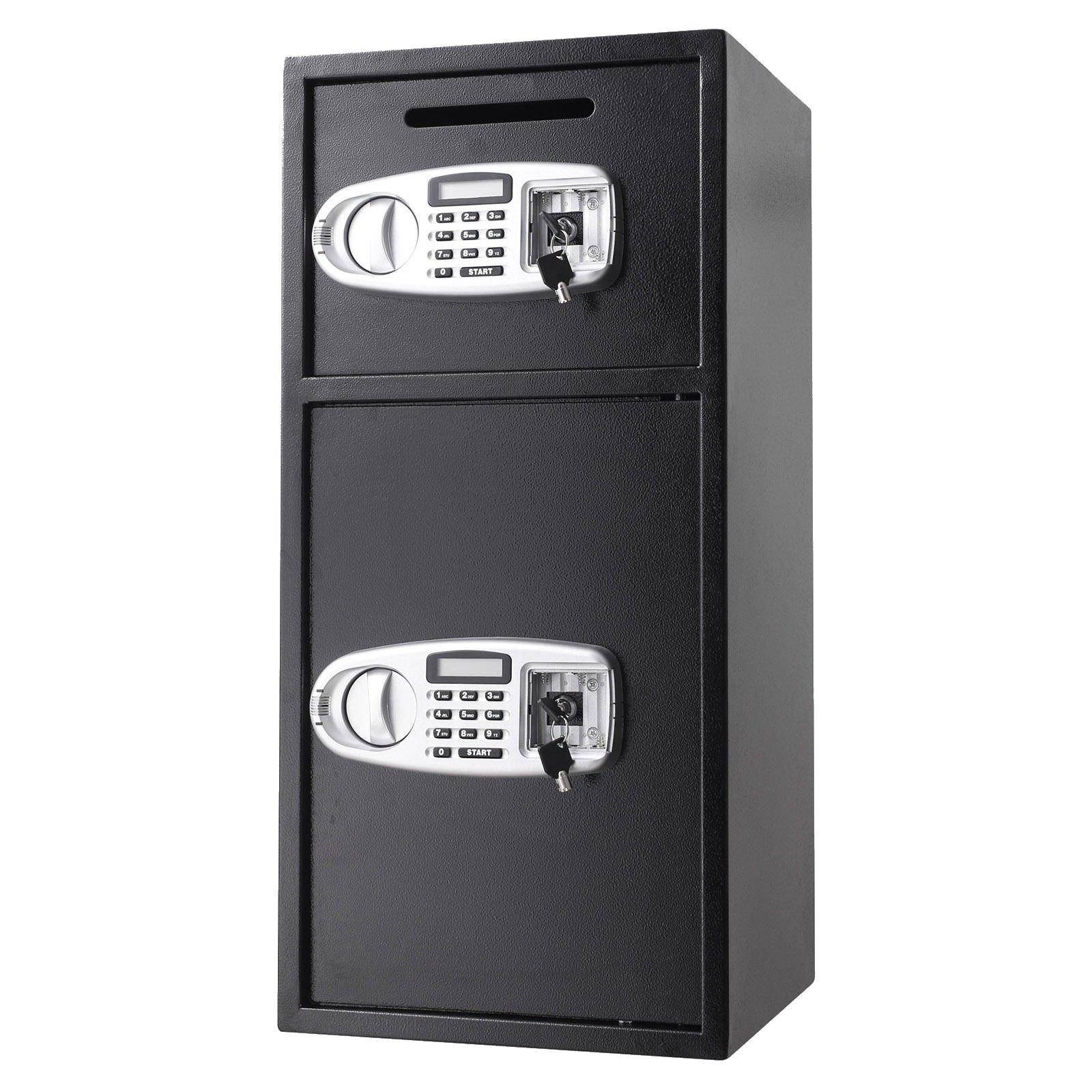 New Digital Double Door Safe Security Cash Money Jewelry Gun Book Deposit Drop Slot Lock Box With Electronic Combination Lock And Keys | Cabinet Safe | Cash Safe | Deposit Safe