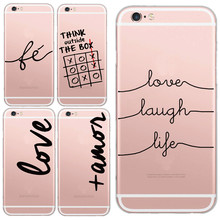 Super Slim Transparent LOVE LAUGH LIFE Printing Cell Phone Case For iphone 5 5s/6 6s Soft TPU Clear Skin Back Cover Capa