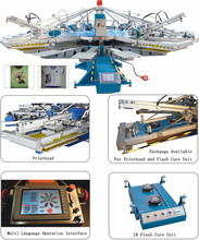 Rotary 4 color Automatic t-shirt/ Screen/fabric/slipper Printer