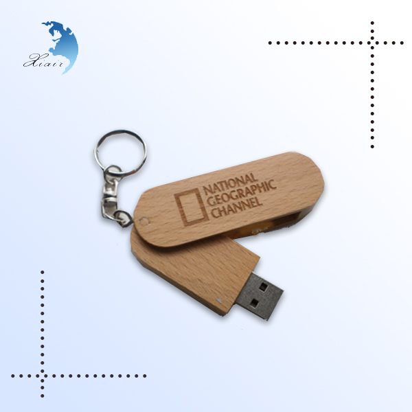 creative logo design wood swivel usb flash drive