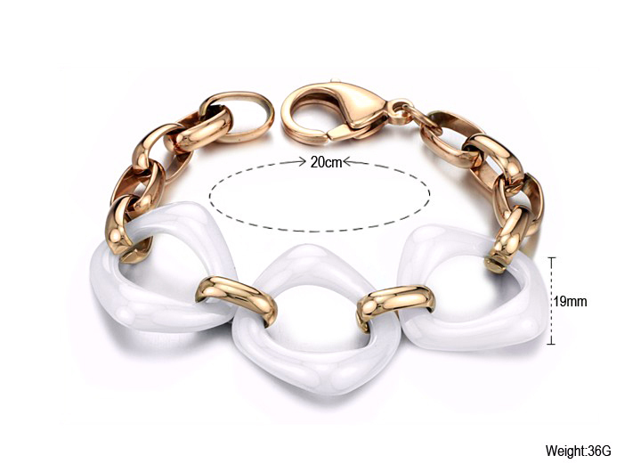 Gold men white ceramic bracelet fancy items 425jw