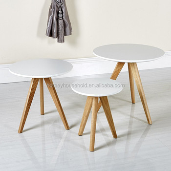 Three Legs Modern Tray Top Sofa Side Table Wood Round Small Coffee Nesting Rustic End High