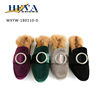 Elegant Women High Fashion Business Casual Dressy Faux Suede Slip On Mule Slippers Plush Loafer Flats