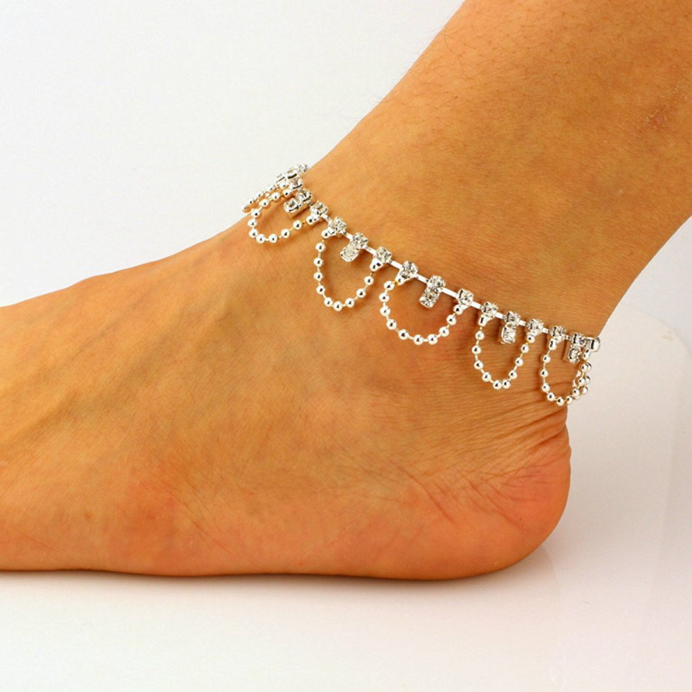 HUSUP®: Clear crystal Tassel Bell Pendant Multi-layer Anklet