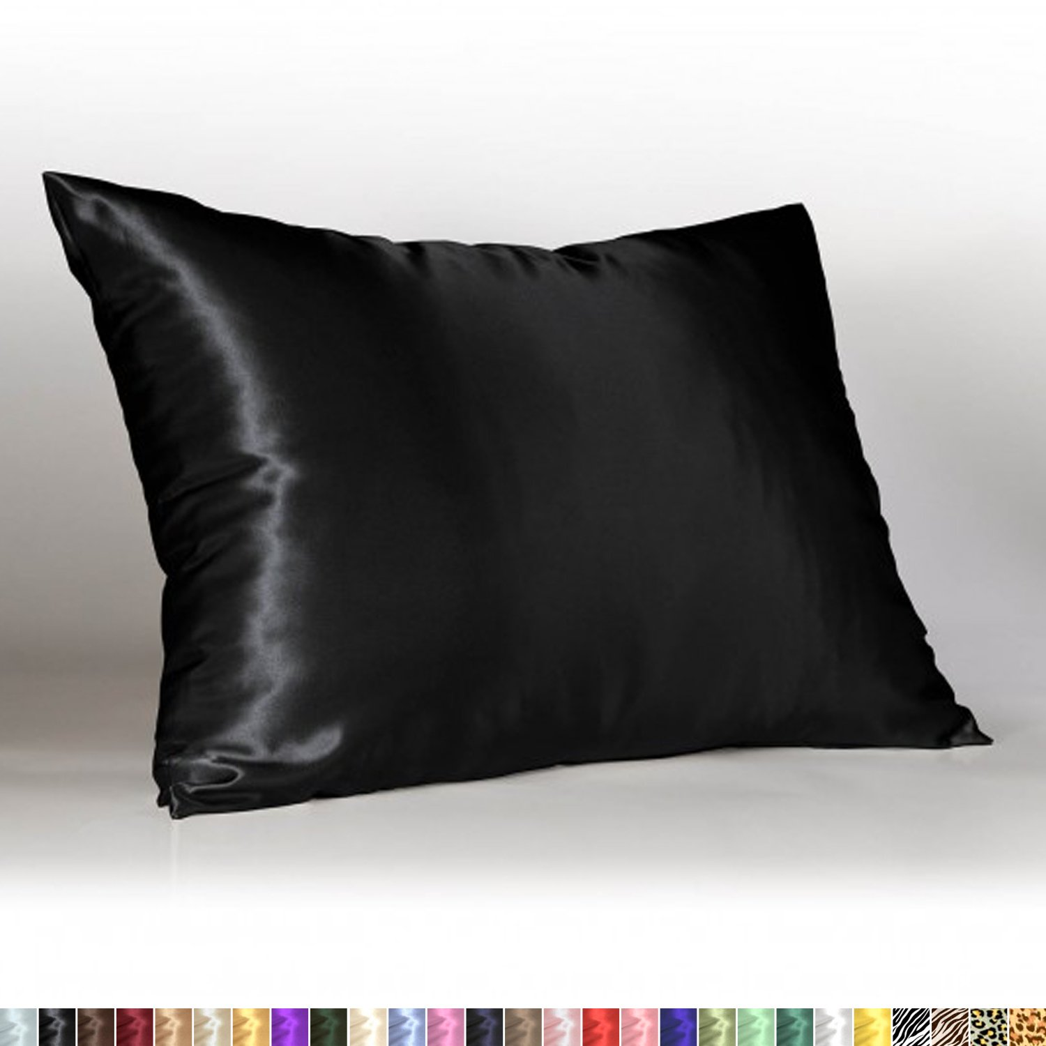 Sweet Dreams - Blissford Luxury Satin Pillowcase with Zipper, King Size, Black (Silky Satin Pillow Case for Hair) By Shop Bedding (1-Pack)