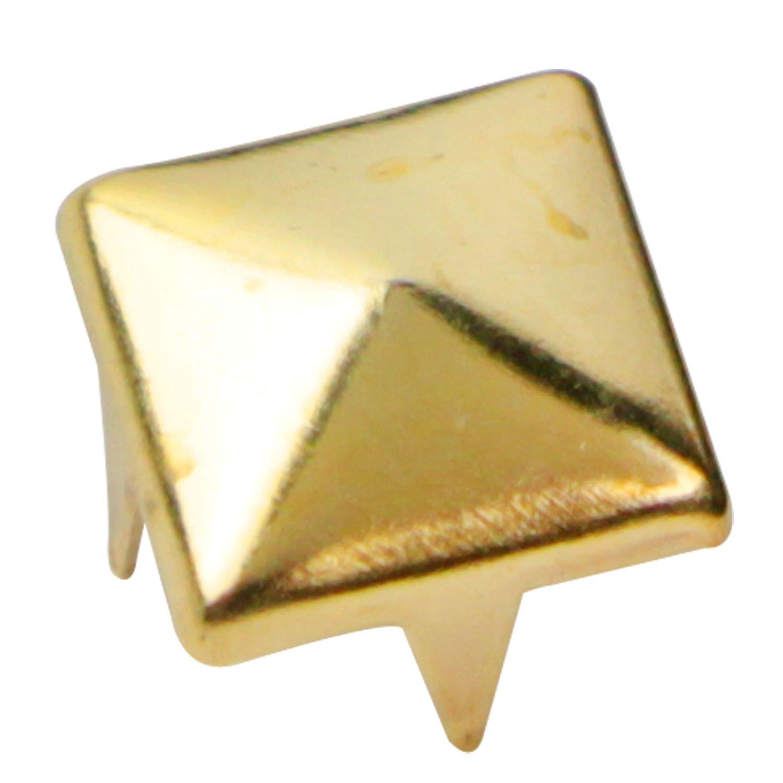 Fashion Embellishment for Bag Shoe CraftbuddyUS 75 X 9mm Gold Square Pyramid Craft Studs