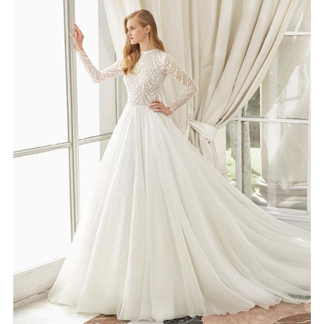 7e6db01334 Barato simple blanco manga larga musulmanes vestidos de novia de la boda vestido  de novia