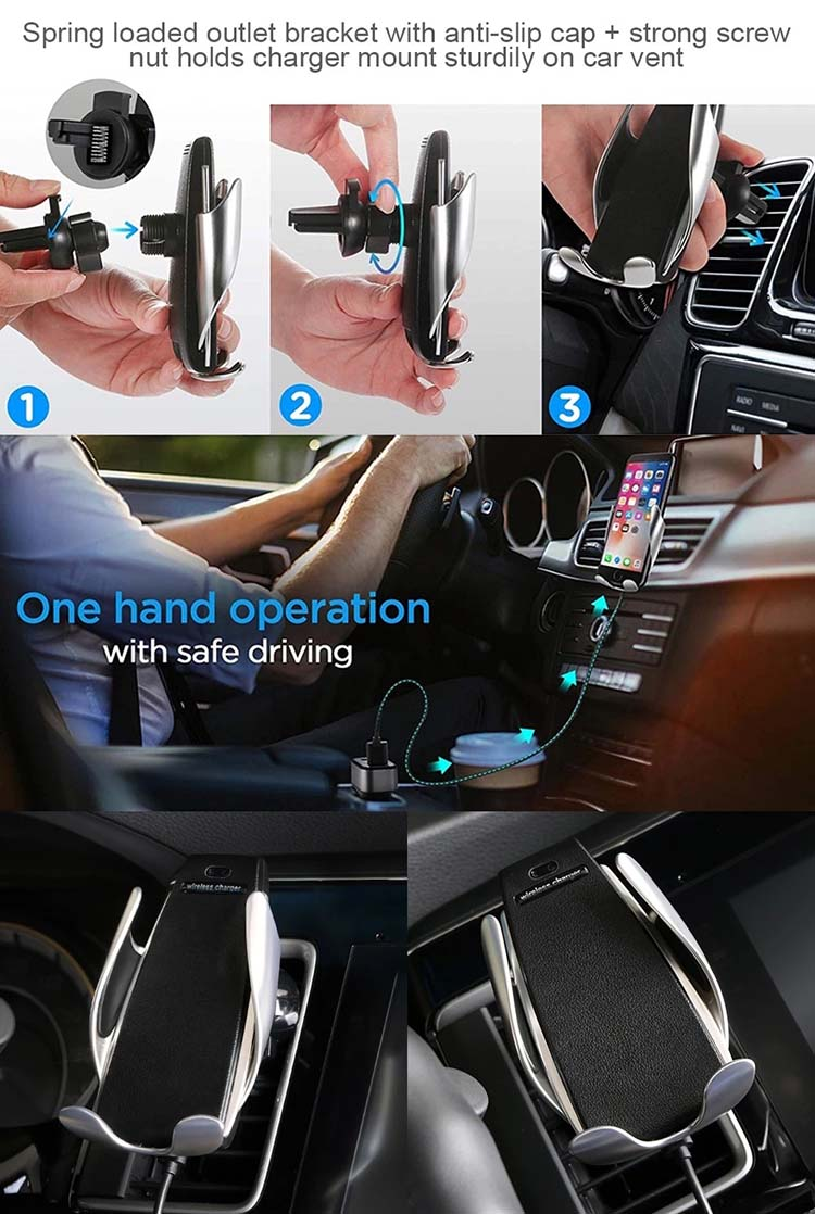 Infrared Sensor Smart Phone Car Fast Wireless Charger with Stand,Wireless Charger Car Mount Mobile Phone Holder