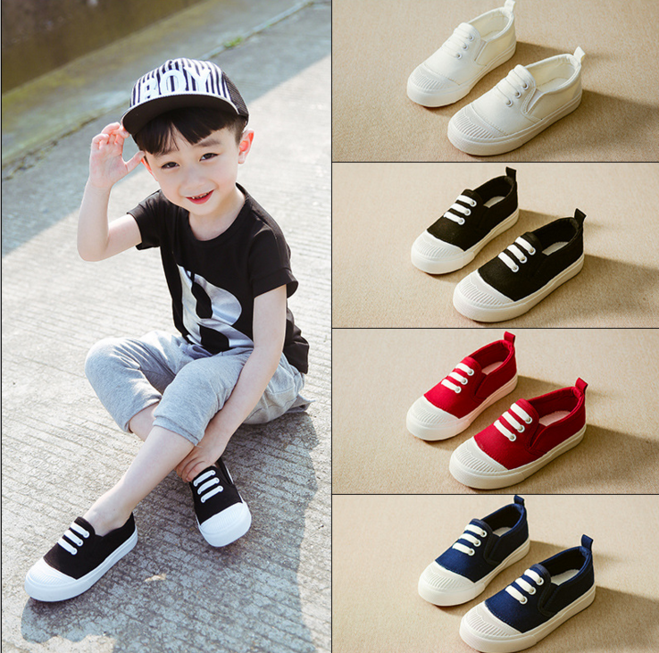 2017 autumn and summer children white canvas elastic cord shoes