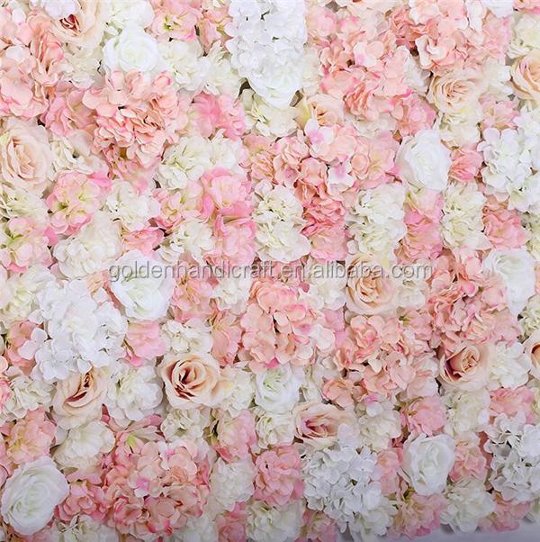 Wholesale Artificial Silk Flower Wall Rose And Hydrangea Wedding