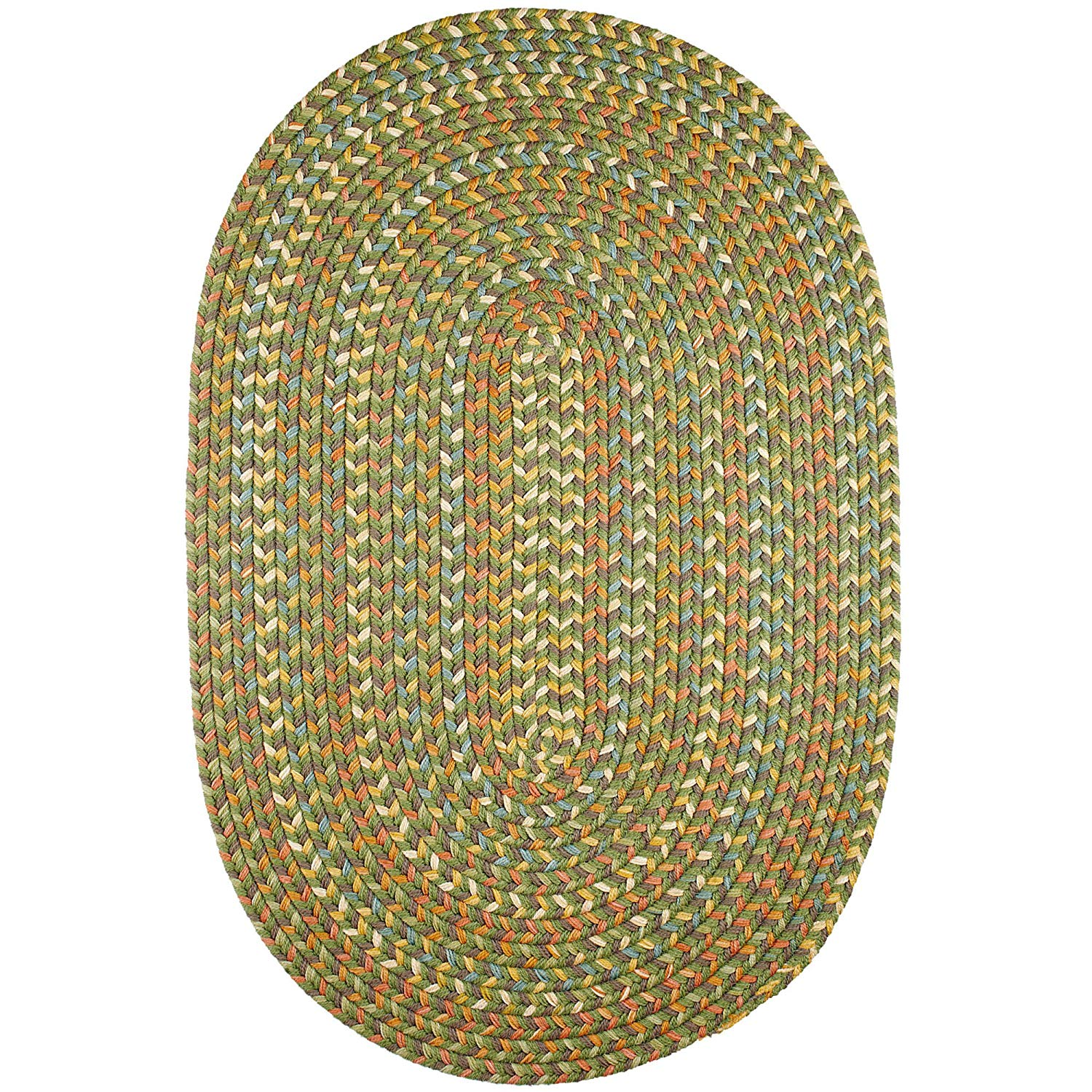 Super Area Rugs Confetti Braided Rug Traditional Rug Textured Durable Green Casual Decor Carpet, 10' X 13' Oval