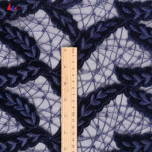 Wholesale light color flower embroidery thailand royal blue lace fabric