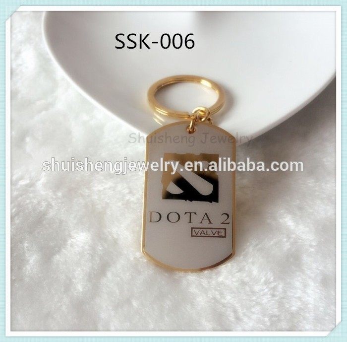 Promotional gifts items factory custom design dog tag shaped metal dota 2 keychain