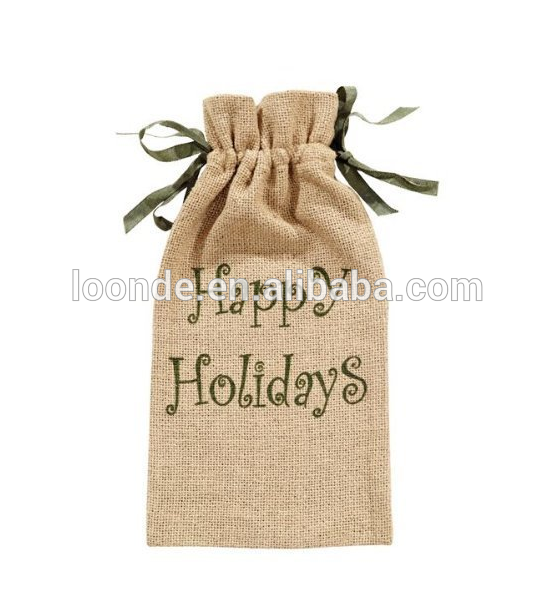 china manufacturer for hemp gift bag with ribbon tie