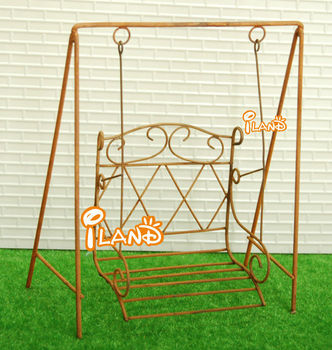 95cb932819 Dollhouse Miniature Antique Garden Swing Outdoor Hanging Swing Vintage Iron  Swing Rusty WG010