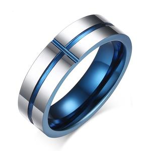 Blue Cross Shape Wedding Rings For Men Jewelry Engagement Ring Wedding Bands 6mm wide US size 6-11