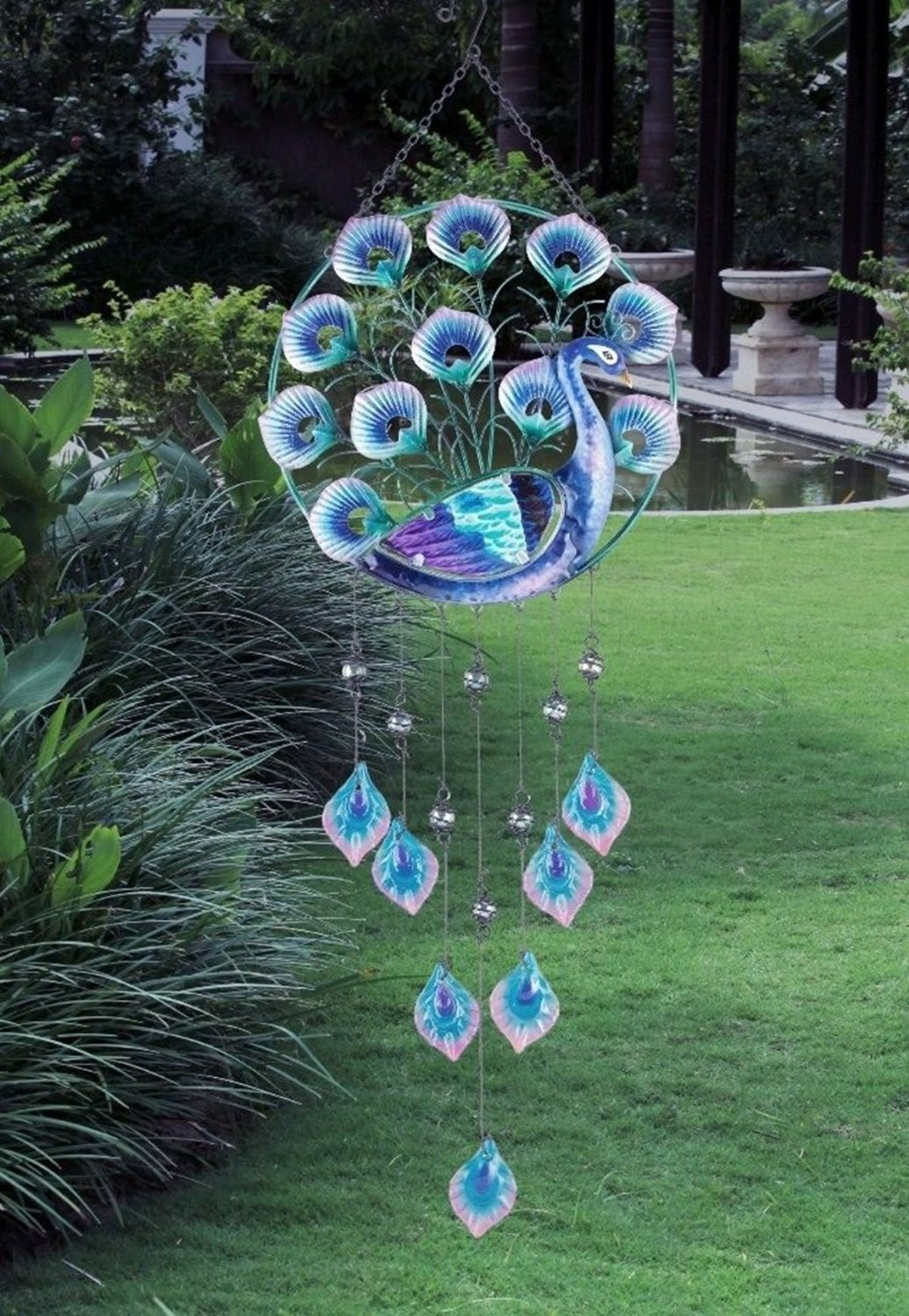 Get Quotations · CHSGJY Peacock Wind Chime Glass U0026 Metal Bird Wall Hanging  Garden Patio Porch Decor