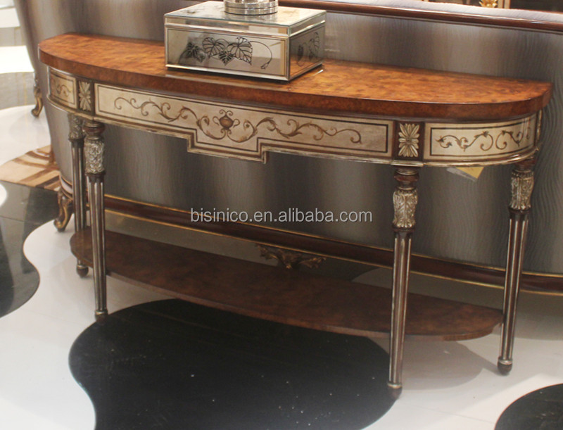 Exquisite Wood Carving Console Cabinet, Traditional Lacquer Furniture Gold  Painted Palace Sideboard/Buffet