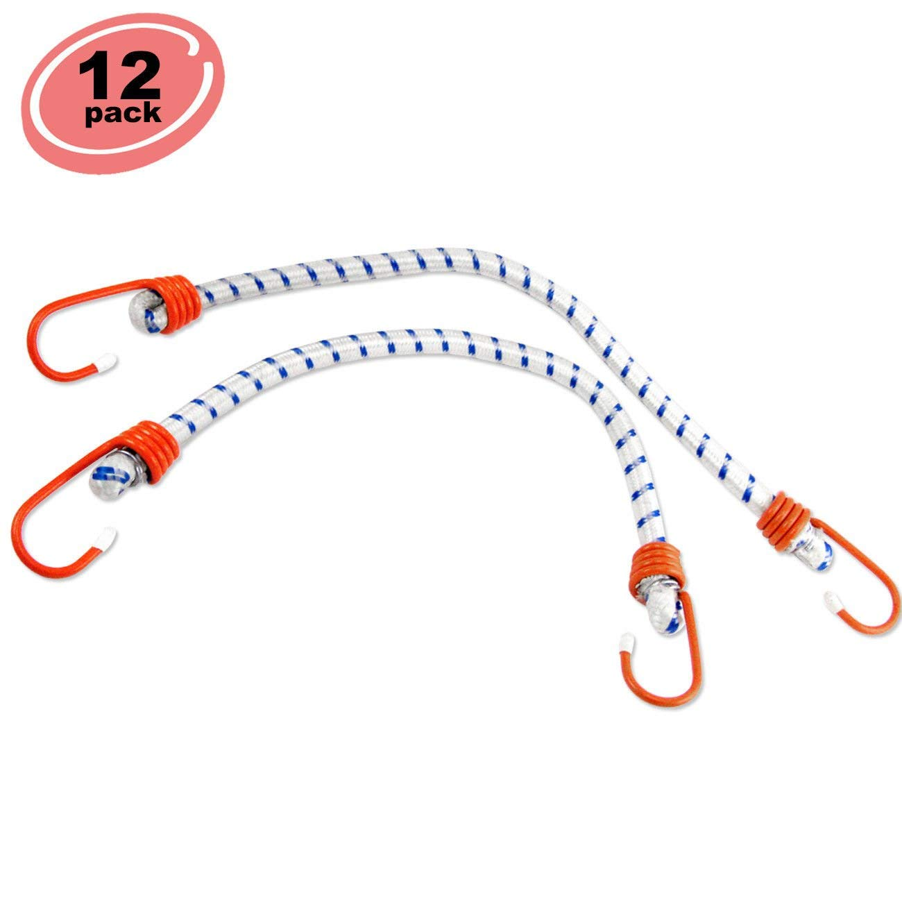 "ESKALEX>>12pc Bungee Cord 24"" inch Heavy Duty Straps 2 Hooks Tie Down Set and Bungee Cord Heavy Duty 24"" 12 Big Bungee Cords for Securing Over-Sized Loads Or Wrapping Big Bundles Heavy-Duty Multi-str"