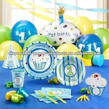Boys Cupcake 1st Birthday Party Supplies The Big One Including Tableware Decorations