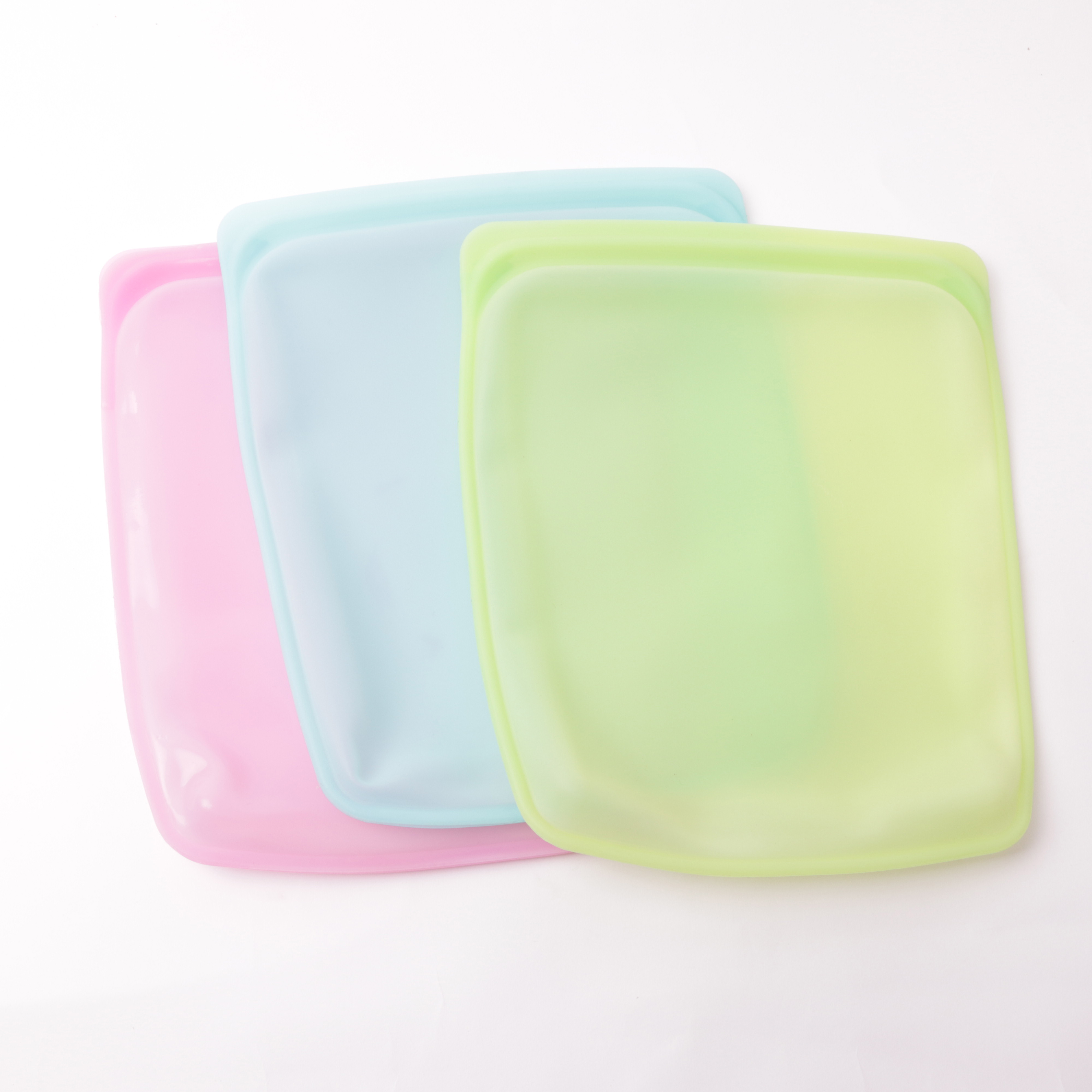 New Item 3 Pack Silicone Reusable Food Storage Bag Set Reusable Zipper Silicone Food Bag