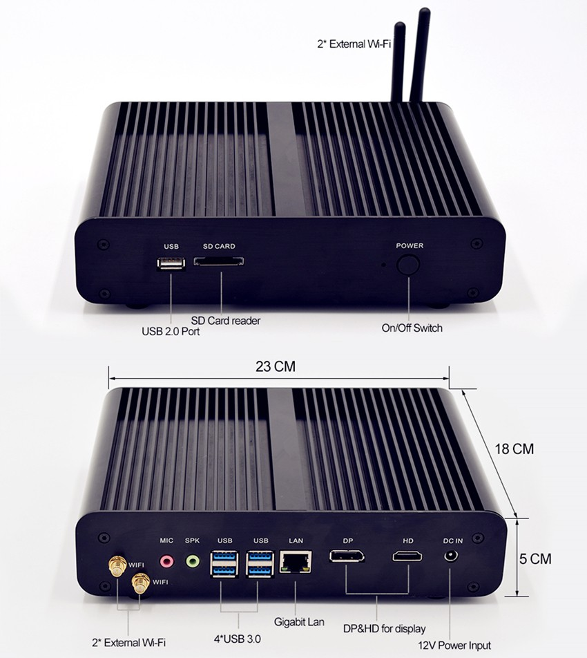 7th gen fanless mini pc windows10 Intel core i7 7500U DDR4 desktop <strong>computer</strong> for gaming office