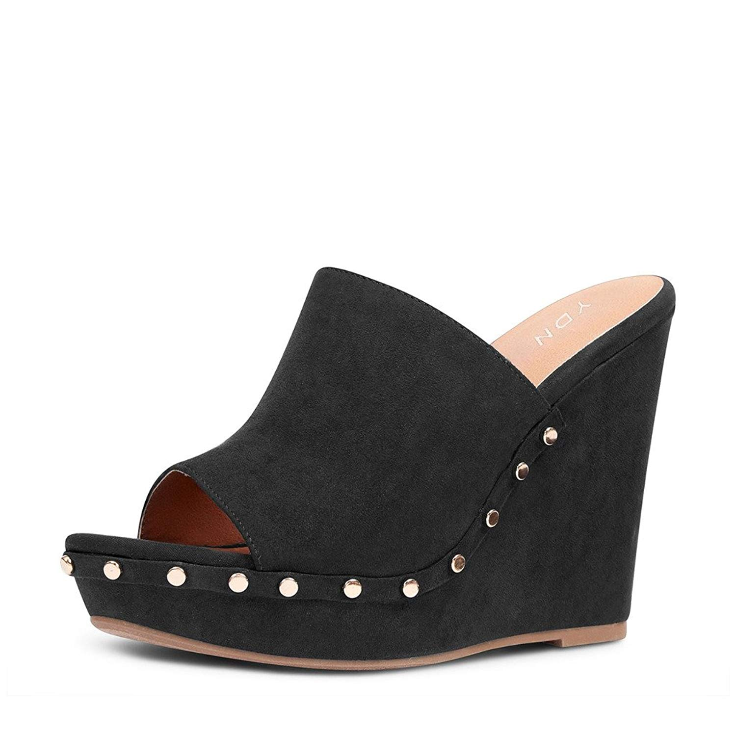191ac52b569 Get Quotations · YDN Women Studded High Heel Wedge Sandals Open Toe Platform  Clogs Mules Slide Shoes