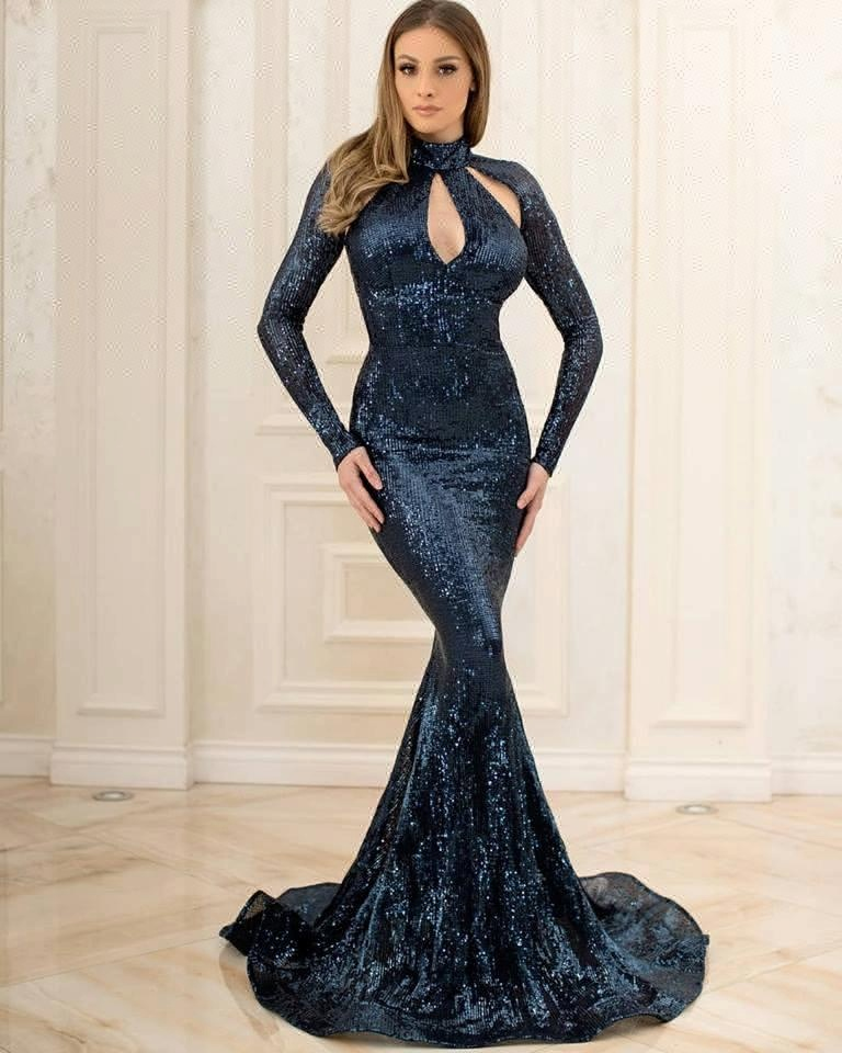 2018 Fat Women Dresses Plus Size Evening Dress Long Gown New Arrival Party Wear Gowns Sequin Prom Dress With Long Sleeves Buy Plus Size Evening
