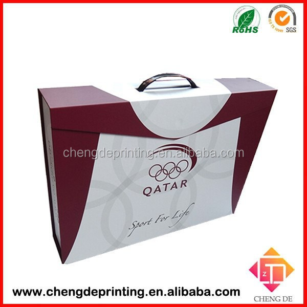 2015 custom unfolded cardboard box for gift with plastic handle