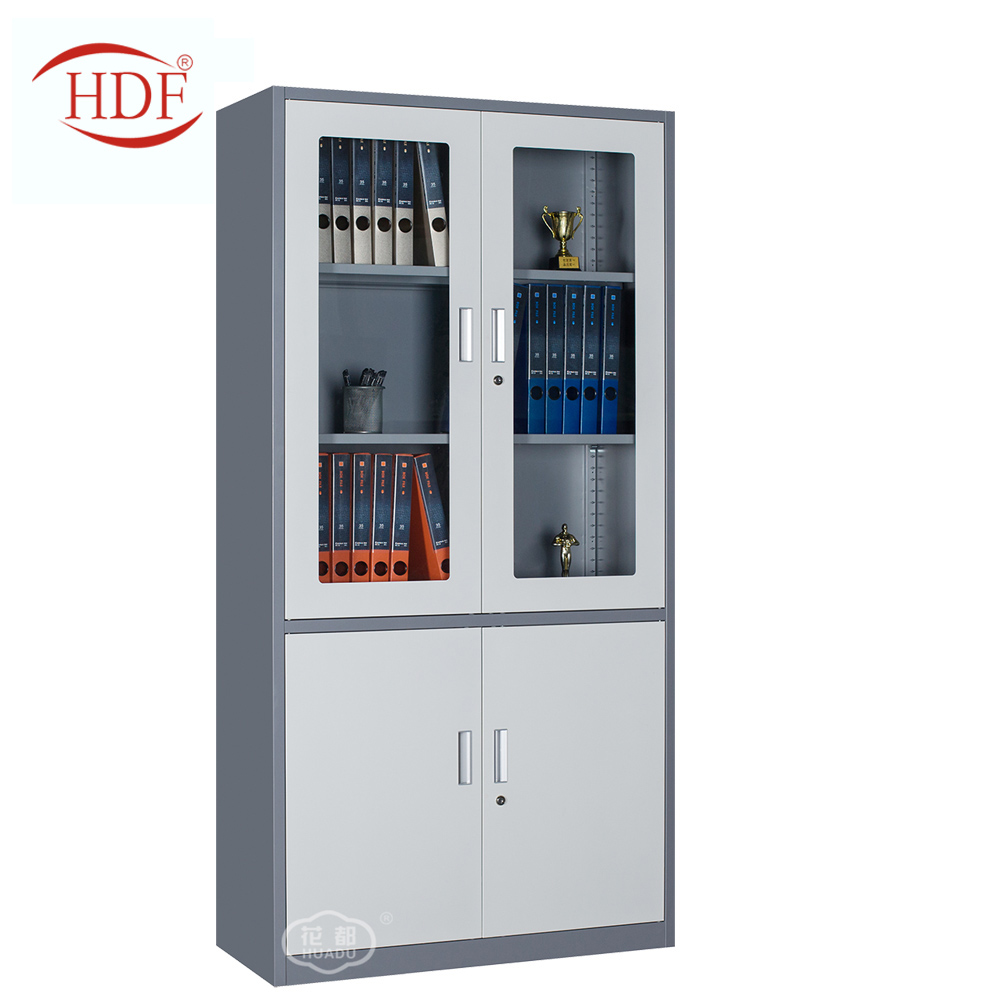 Hot sale steel office furniture metal filling cabinet and 2 glass door file cabinet