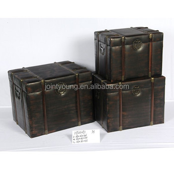 vintage faux leather storage trunks