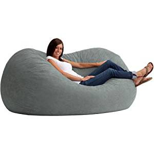"XL Size Microfiber Bean Bag Chair Bed, Filled with Super Soft Fuf Foam, 6"" Fufsack, Back Support, Dorm Rom, Bedroom, Children's Furniture, Oval Shape, Multiple Colors + Expert Guide (Steel Grey)"