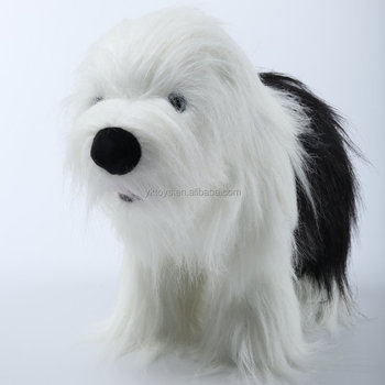Customize Soft Plush Animal Dog Dolls Black And White Fur Dog Pet