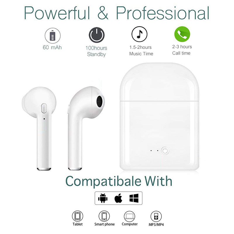 i7s TWS Mini Bluetooth 5.0 Earphones Headphone Wireless Earbuds Stereo Bass Wireless Headset With Charging Box Sports