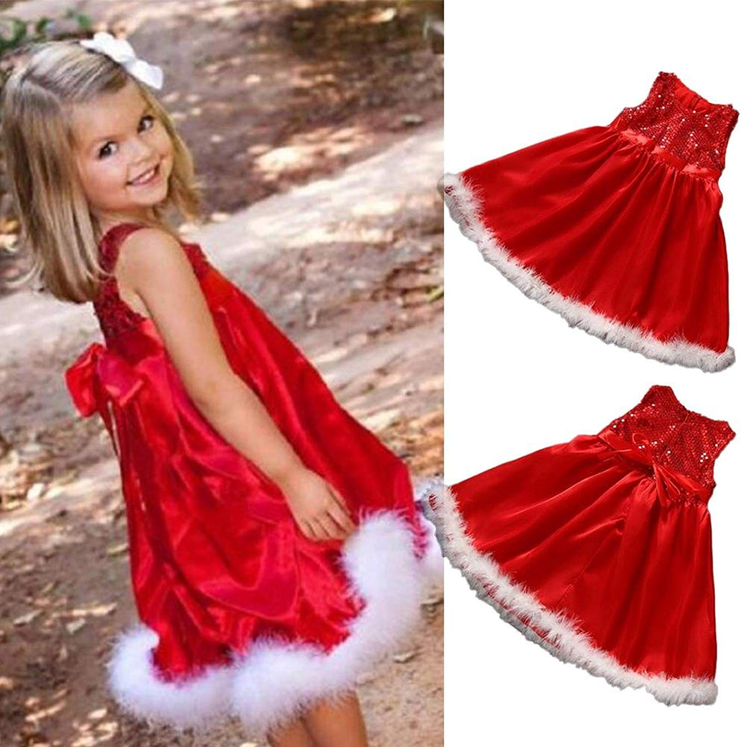 86b772b6b5d3 Get Quotations · ZHUOTOP Children Baby Girls Sequins Party Hairy Belt Cake  Formal Dress Clothes