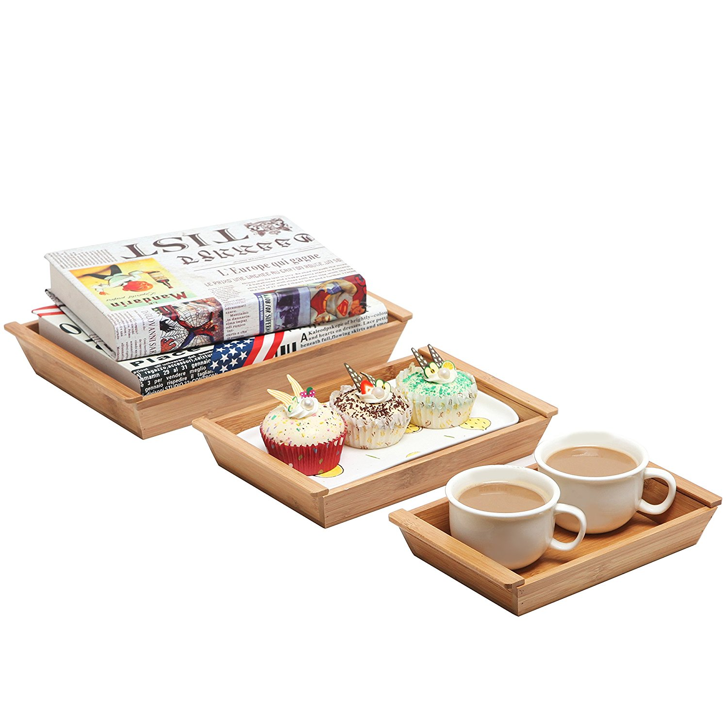 High quality rectangle shape with 3 pieces cheap bamboo designer food serving trays 3