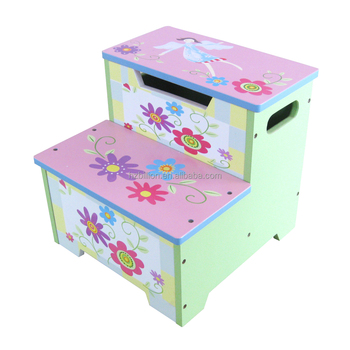 lovely kids wooden hand painted toddler step stool storage box kids furniture - Childrens Step Stool