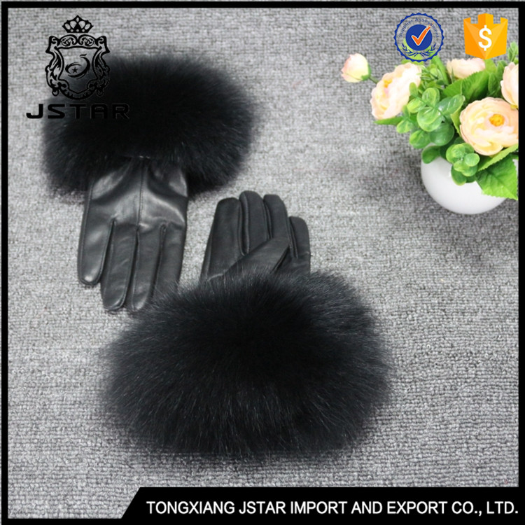 Best Choose Sheepskin Mittens Ladies Winter Fur Leather Gloves