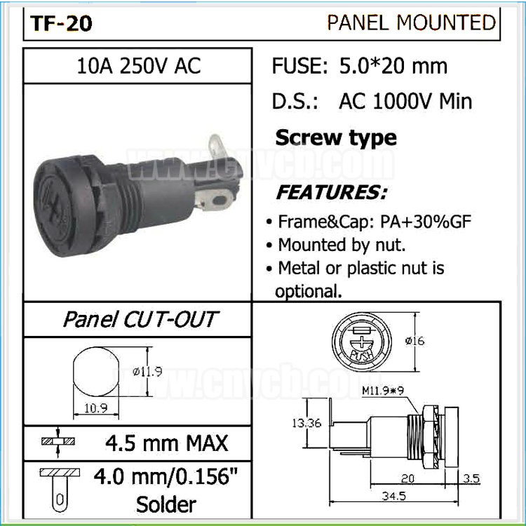 FH10 TF-20 10.9mm dia panel mounted 10A 250VAC fuse holder
