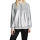 Ladies Long Sleeve Polyester Silver Sequin Hoodie Pullover Sweatshirt